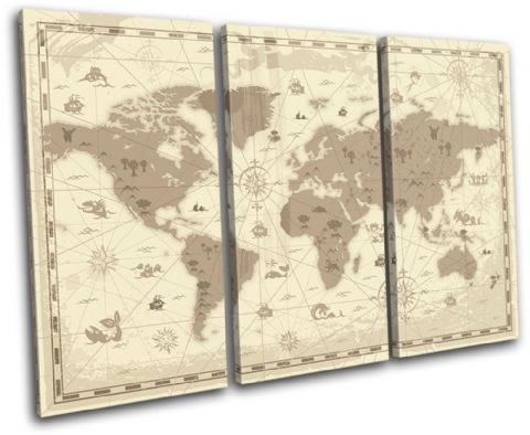 world Retro brown Maps Flags - 13-0096(00B)-TR32-LO